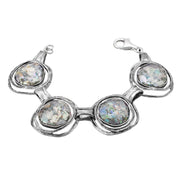Sterling Silver Roman Glass Linked Bracelet - Paz Creations