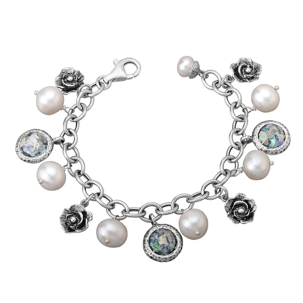 Sterling Silver Charm Bracelet with Pearls, Leaves & Roman Glass  - Paz Creations Jewelry