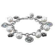 Sterling Silver Charm Bracelet with Pearls, Leaves & Roman Glass - Paz Creations
