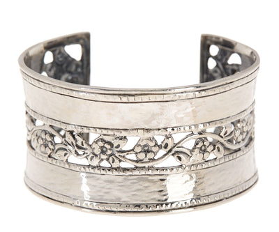 Sterling Silver Hammered & Floral Lace Cuff Bracelet - Paz Creations