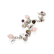Sterling Silver Multi Gemstone Charm Bracelet - Jade or Rose Quartz  - Paz Creations Jewelry