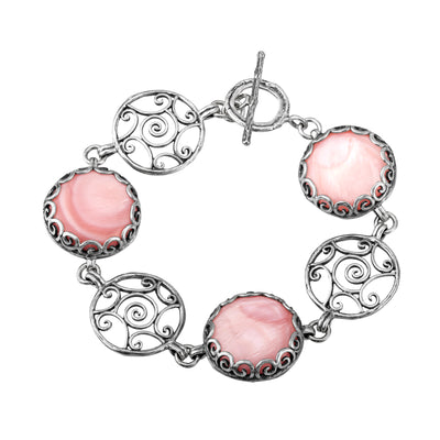 Silver Bracelet with Mother Of Pearl Charms - Black & Pink - Paz Creations