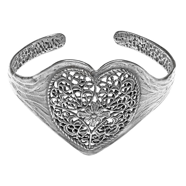 Sterling Silver Lace Heart Cuff Bracelet  - Paz Creations Jewelry