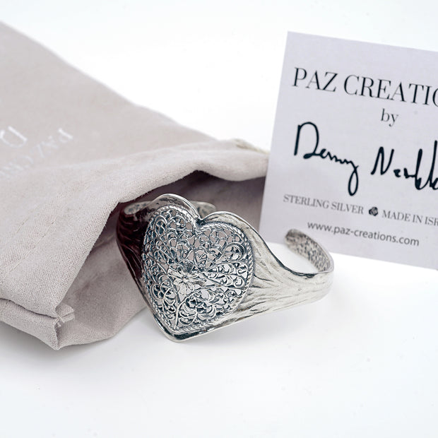 Sterling Silver Lace Heart Cuff Bracelet - Paz Creations