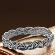 Sterling Silver Textured Braided Bangle  - Paz Creations Jewelry