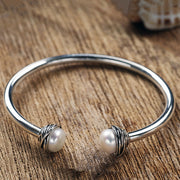 Sterling Silver and Freshwater Cultured Pearl Flex Cuff  - Paz Creations Jewelry