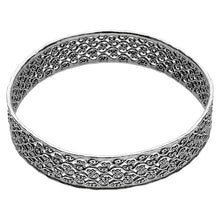 Sterling Silver and Lace Design Bangle - Paz Creations