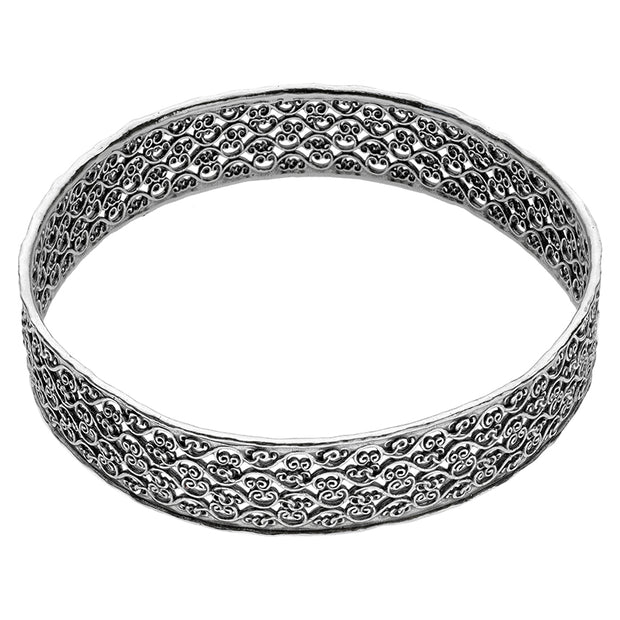 Sterling Silver and Lace Design Bangle  - Paz Creations Jewelry