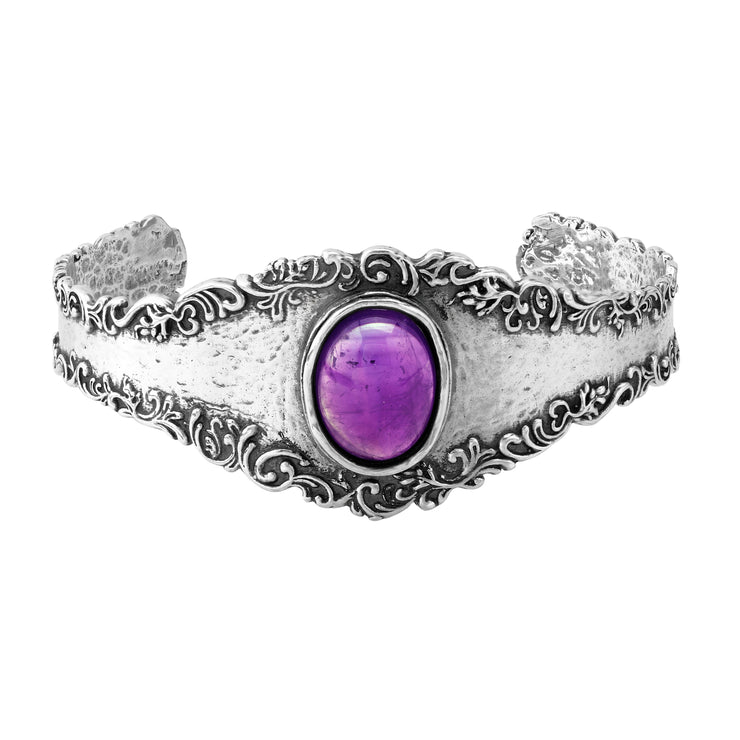 Sterling Silver Vintage-Look Cuff with Amethyst or Turquoise Gemstone - Paz Creations