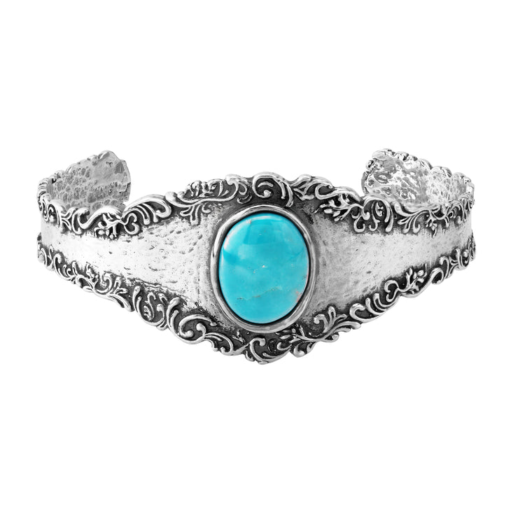Sterling Silver Vintage-Look Cuff with Amethyst or Turquoise Gemstone  - Paz Creations Jewelry