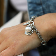 Silver Charm Bracelet with Flowers and Pearls  - Paz Creations Jewelry