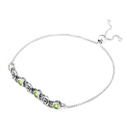 Sterling Silver Adjustable Gemstone Tennis Bracelet  - Paz Creations Jewelry