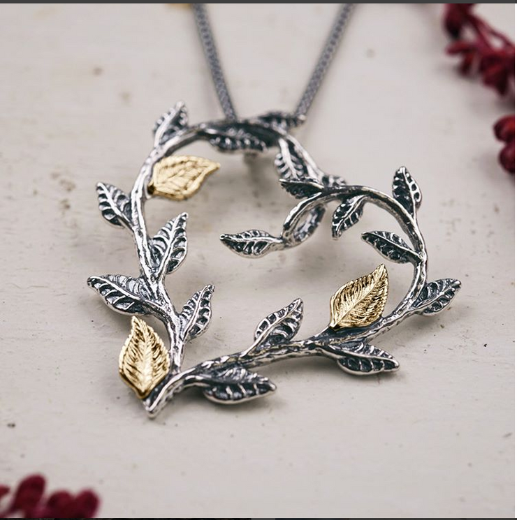 Sterling Silver and 14K Gold Heart and Leaf Pendant Necklace  - Paz Creations Jewelry