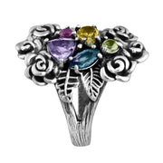Sterling Silver Gemstone Cluster Ring - Paz Boutique  - Paz Creations Jewelry