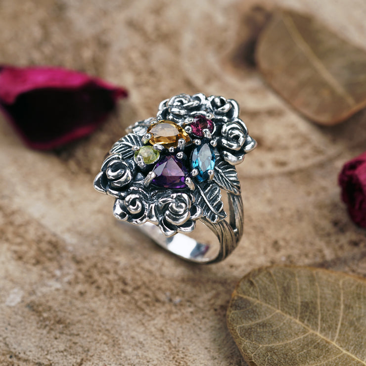 Sterling Silver Gemstone Cluster Ring - Paz Boutique - Paz Creations