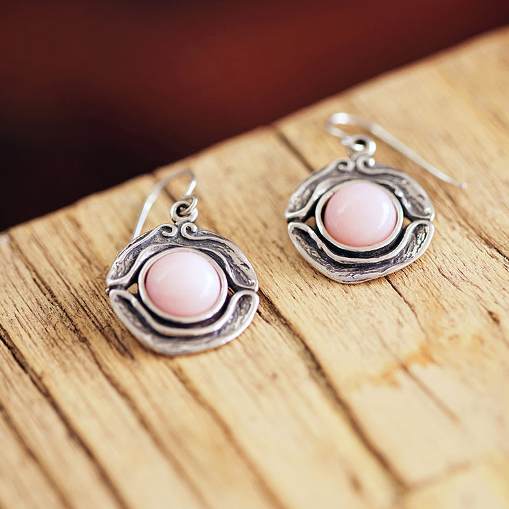 Sterling Silver Pink Opal Dangle Earrings - Paz Creations