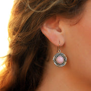 Sterling Silver Pink Opal Dangle Earrings  - Paz Creations Jewelry