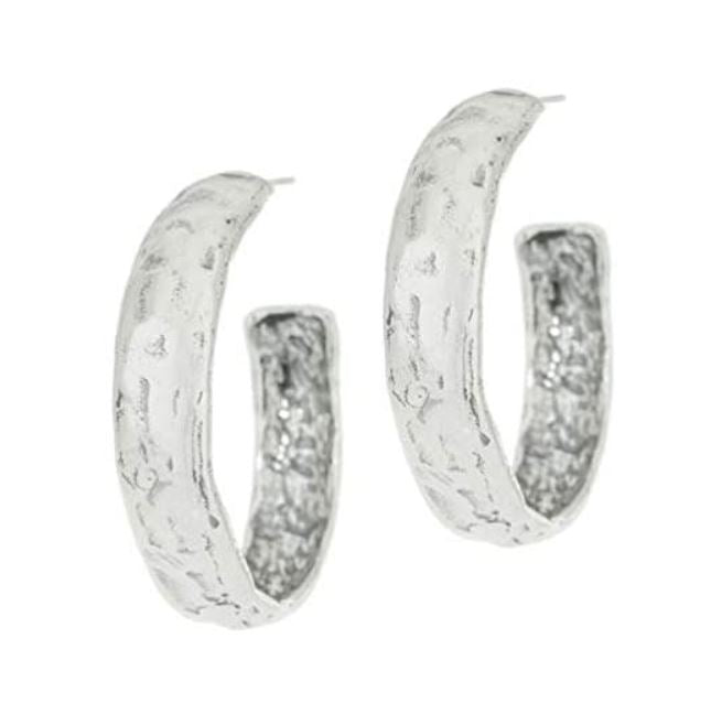 Sterling Silver Textured Hoop Earrings  - Paz Creations Jewelry