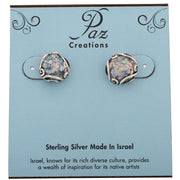 Silver Roman Glass Stud Earrings - Paz Creations