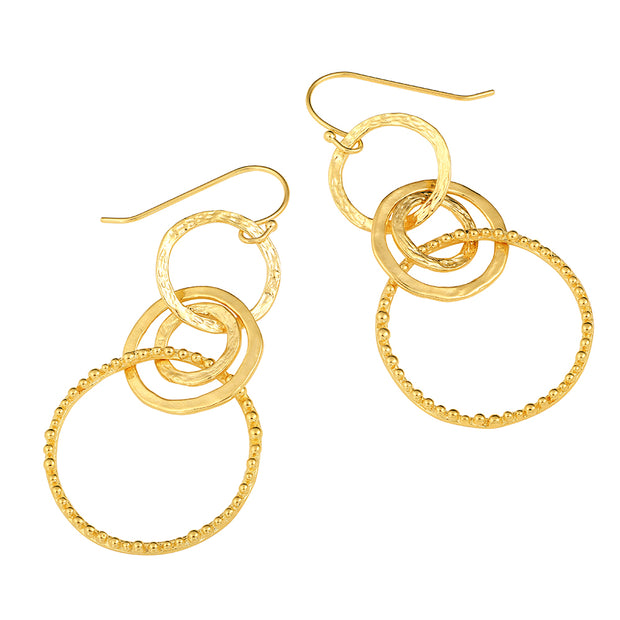 14K Gold Dangle Earrings - Sterling Silver  - Paz Creations Jewelry