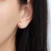 14K Yellow Gold Over Sterling Silver Floral Earrings  - Paz Creations Jewelry