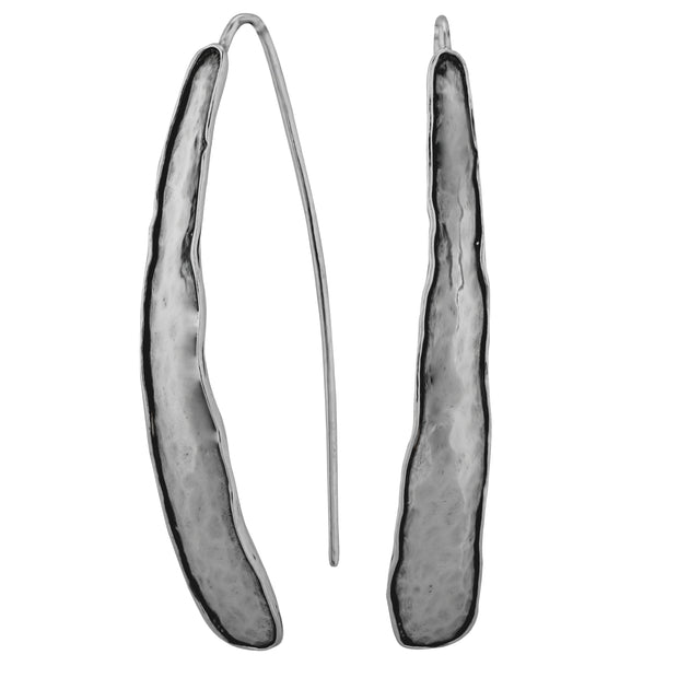 Silver Elongated Threader Earrings  - Paz Creations Jewelry