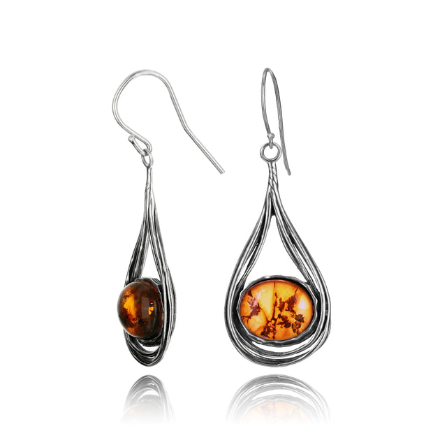 Silver Amber Drop Earrings - Paz Creations