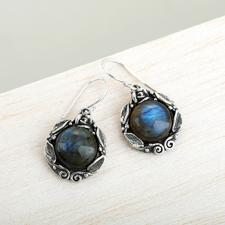 Sterling Silver Moonstone or Labradorite (Gemstone) Dangle Earrings  - Paz Creations Jewelry