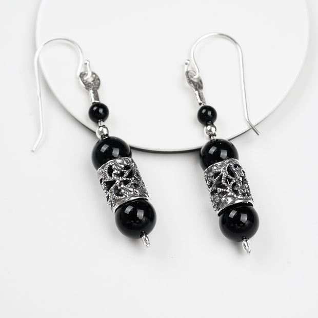 Sterling Silver Onyx Bead Gemstone Earrings - Paz boutique  - Paz Creations Jewelry