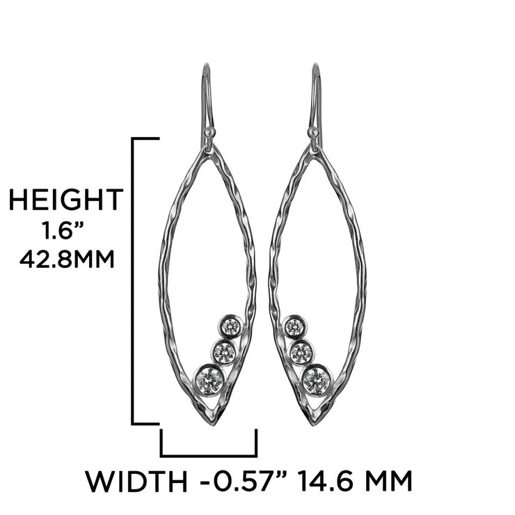 Silver and Cubic Zirconia Marquise Shaped Drop Earrings - Available with Silver or Gold finishes  - Paz Creations Jewelry