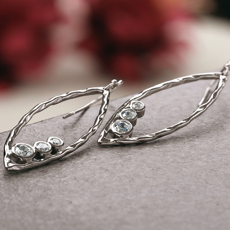 Silver and Cubic Zirconia Marquise Shaped Drop Earrings  - Paz Creations Jewelry
