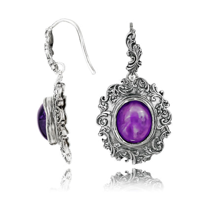 Silver Vintage-look Earring with Oval Gemstone - Turquoise or Amethyst - Paz Creations