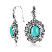 Silver Vintage-look Earring with Oval Gemstone - Turquoise or Amethyst  - Paz Creations Jewelry