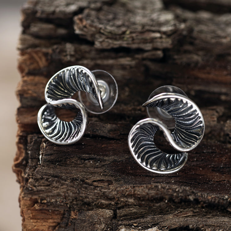 Silver Wave Stud Earrings - Paz Creations
