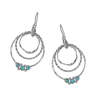 Sterling Silver Triplet Hoop Earrings with Turquoise Gemstones - Paz Creations