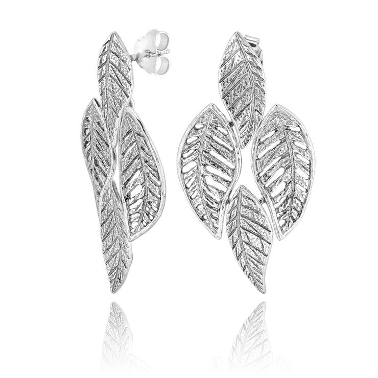 Sterling Silver Leaf Cluster Dangle Earrings: Gold or Silver - Mixed Metals  - Paz Creations Jewelry