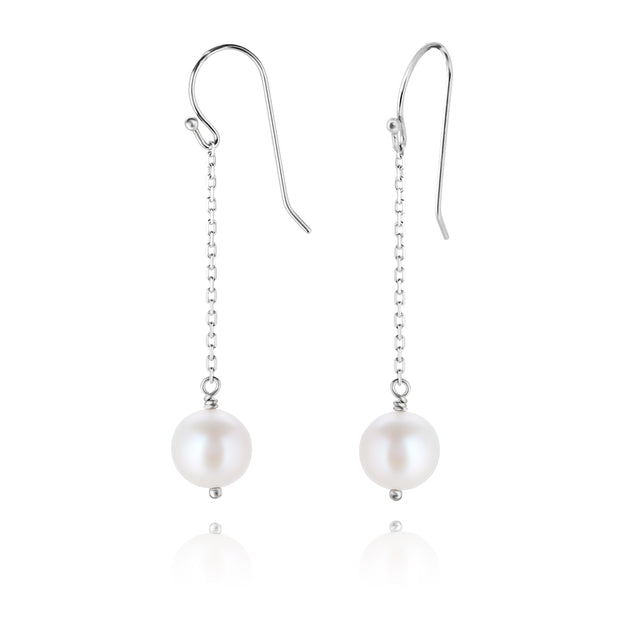 Sterling Silver Pearl Dangle Earrings  - Paz Creations Jewelry
