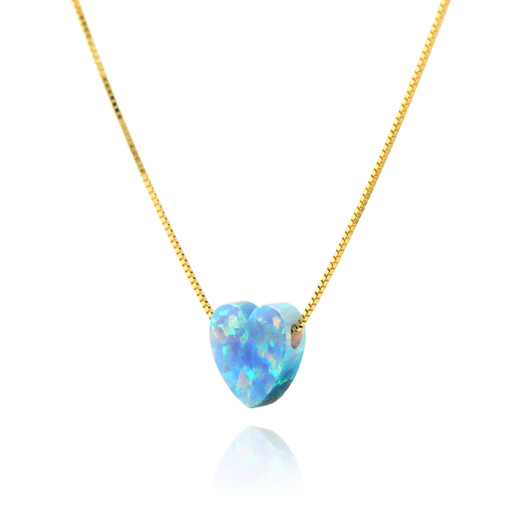 14K Gold Blue Opal Charm Necklace  - Paz Creations Jewelry