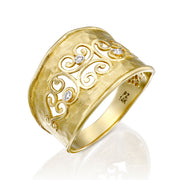 14K Gold Filigree Diamond Ring  - Paz Creations Jewelry