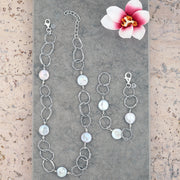 Sterling Silver Pearl Coin Bracelet & Necklace Set - Paz Creations