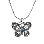 Sterling Silver Blue Topaz Butterfly Pendant Necklace - Paz Boutique  - Paz Creations Jewelry