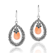 Sterling Silver Pear-Shaped MOONSTONE Dangle Earrings  - Paz Creations Jewelry