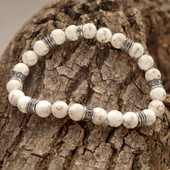white magnesite beaded bracelet
