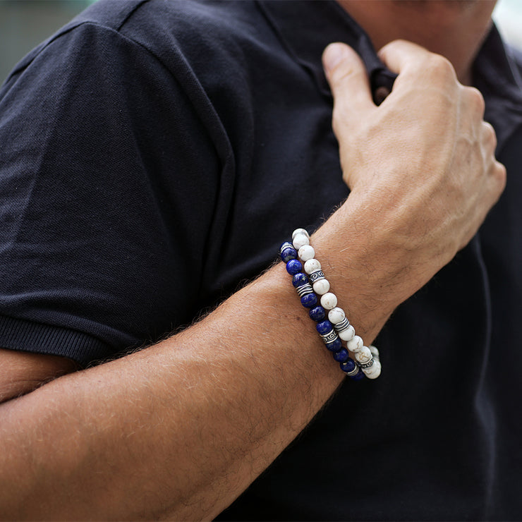 Men's Gemstone Beaded Bracelet - White Magnesite or Navy Blue Lapis - Paz Creations