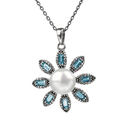 Silver Cultured Pearl & Blue Topaz Flower Pendant - Paz Creations