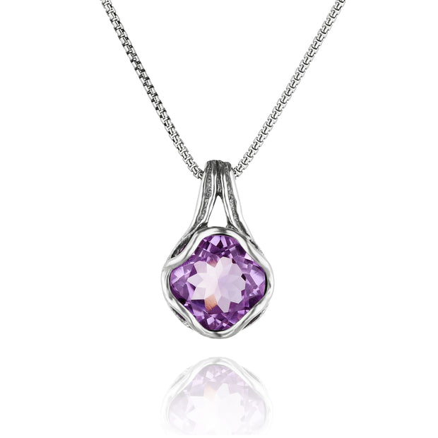 Sterling Silver Amethyst Pendant Necklace - Paz Creations