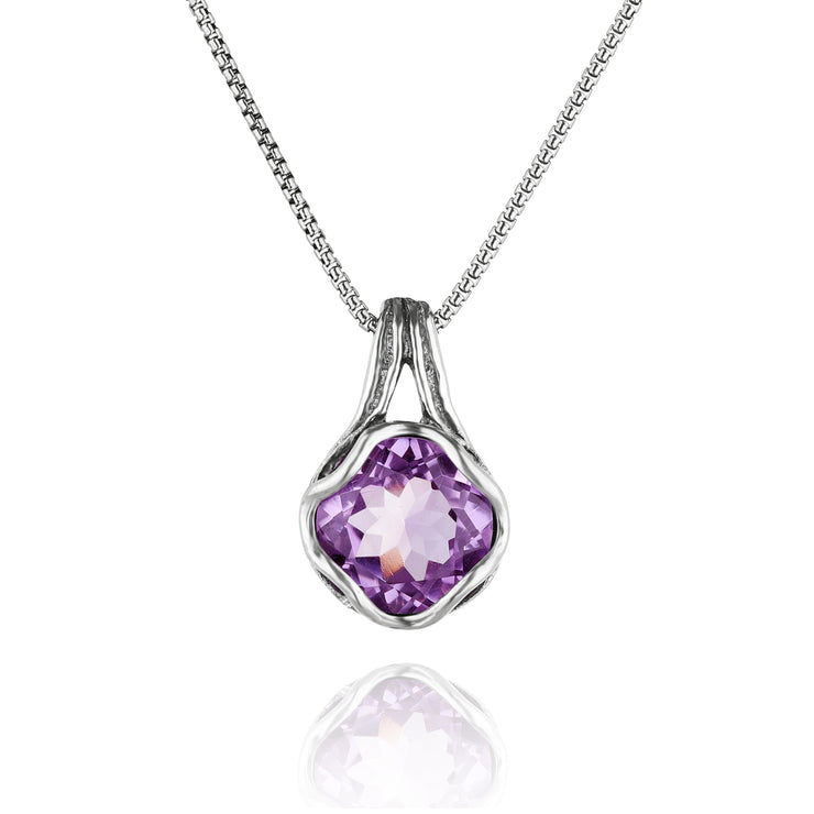 Sterling Silver Amethyst Pendant Necklace  - Paz Creations Jewelry