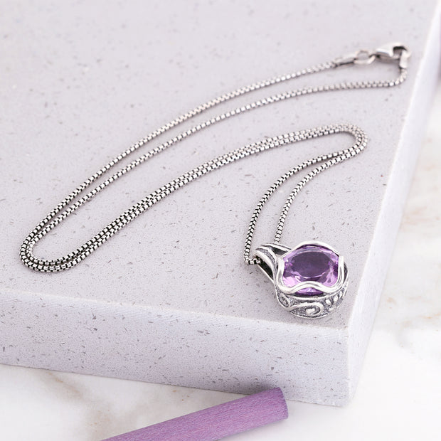 Sterling Silver Amethyst Pendant Necklace