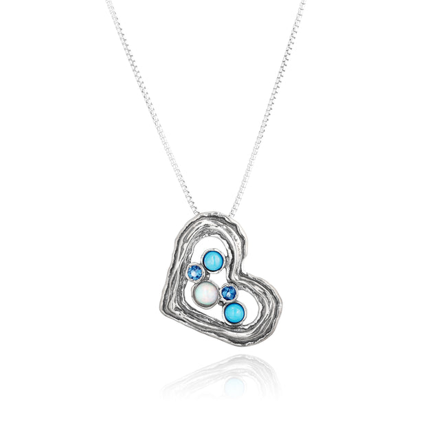Sterling Silver Gemstone Heart Pendant  - Paz Creations Jewelry