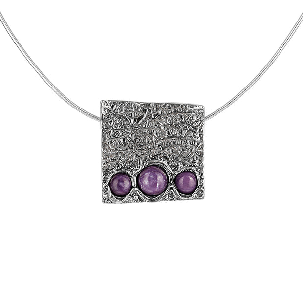 Sterling Silver and Charoite Pendant Necklace  - Paz Creations Jewelry